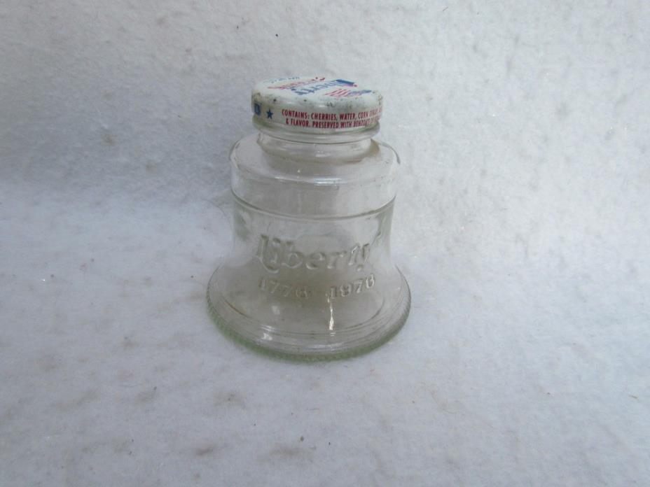 Vintage 1976 Liberty Maraschino Cherries Glass Liberty Bell Shaped Jar with Cap