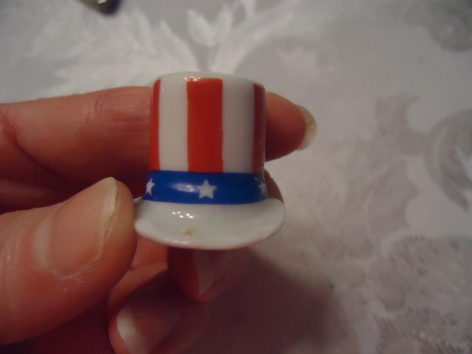 VINTAGE THIMBLE CHINA UNCLE SAM HAT PATRIOTIC MADE IN USA