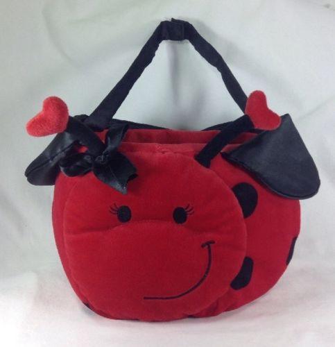 CUTE! Ladybug Lady Bug w/ Wings Valentine Red Hearts Plush Basket Bag Purse EUC