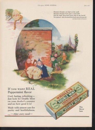 1927 WRIGLEY GUM HUMPTY DUMPTY MOTHER GOOSE FAIRYTALE -[SKU]