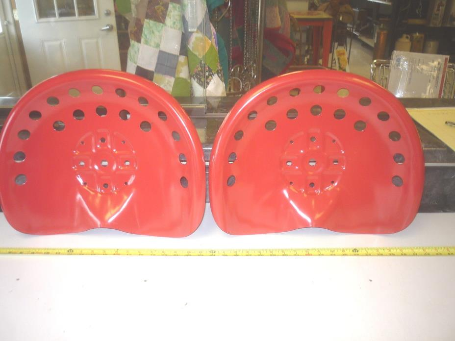 4  RED ANTIQUE STYLE HORSE  FARM MACHINE & TRACTOR METAL BAR STOOL  SEAT