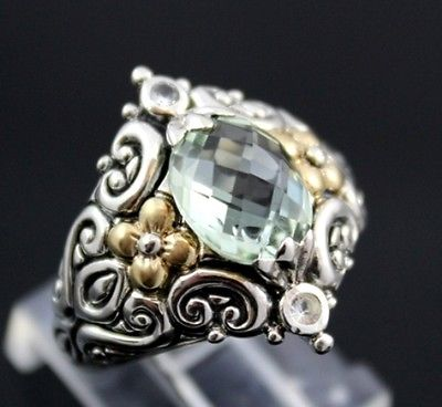 Barbara Bixby Green Quartz Sterling Silver 18K Yellow Gold Ring Size 9