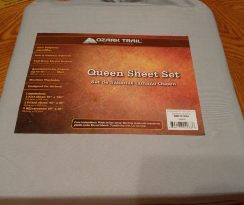 New Ozark Trail 4 Piece Queen Microfiber Sheet Set Gray for Airbeds Camping