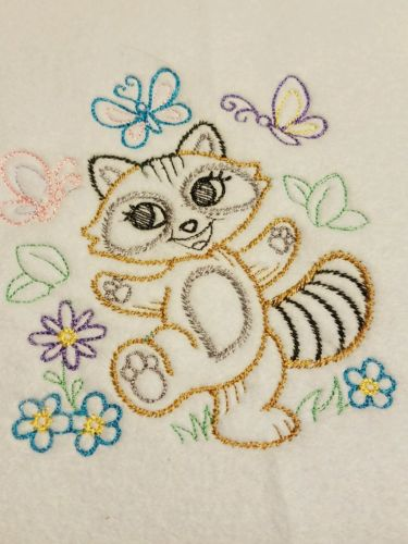 Handmade Personalized Embroidery Fleece Baby Blanket With a Baby Racoon