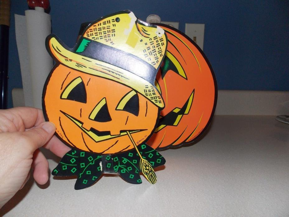 Vintage Beistle Co HALLOWEEN Die Cut Pumpkins scarecrow