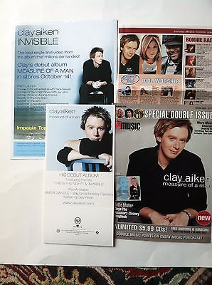 CLAY AIKEN~Measure of a Man CD Promotional Items-Lot of 4 paper items-RARE!