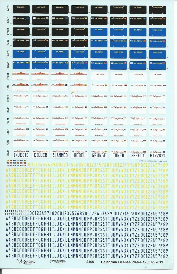 Warbird California License Plate Decals 1/24, 1/25 1963-2012 24 001