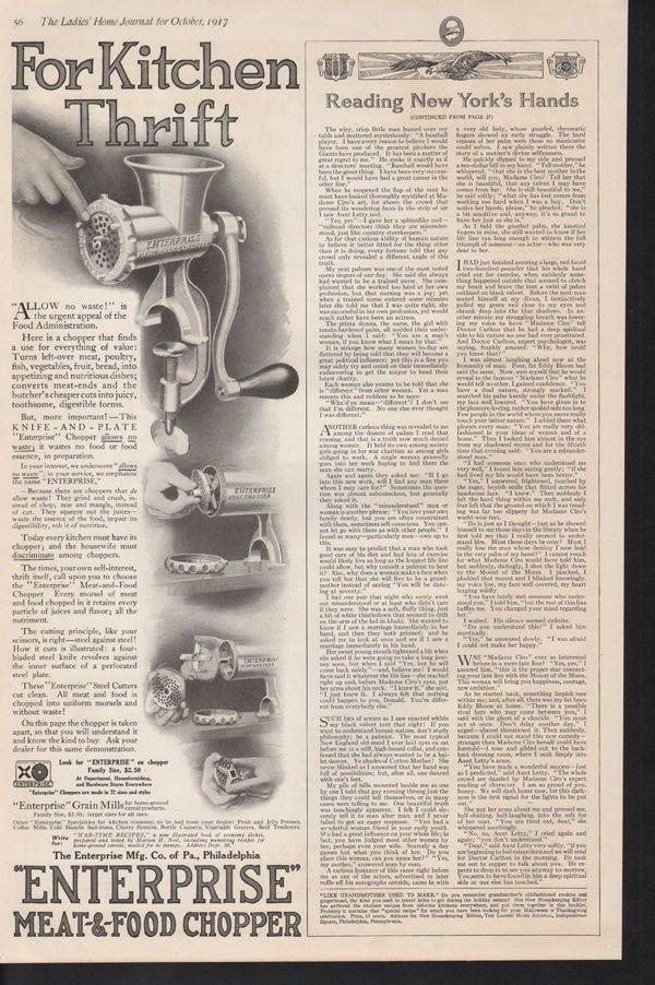 1917 ENTERPRISE MEAT FOOD GRINDER COOK KITCHEN CHOPPER-[SKU]