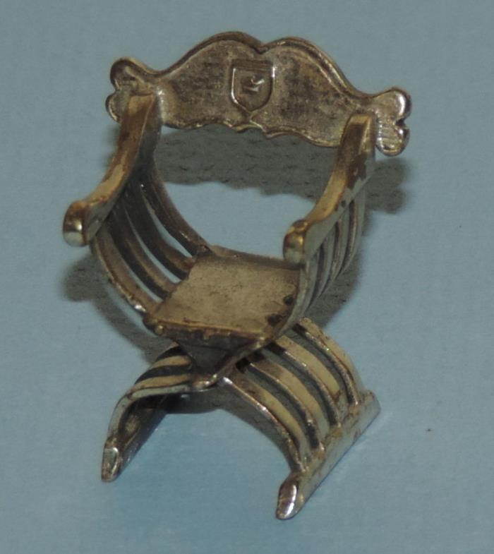 Vintage Miniature 935 Sterling Silver Roman Empire Style Director Chair 1 1/8