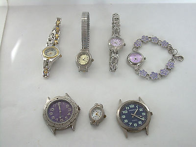 Lot of 7 Assorted Used Mens & Ladies Wrist Watches - For Repair or Parts