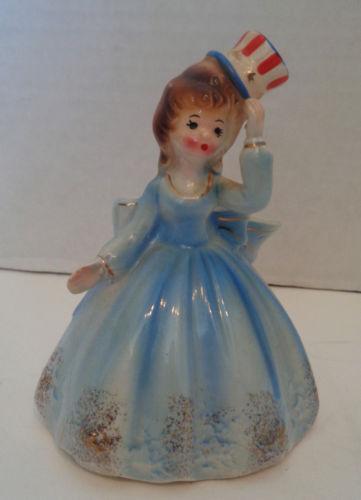 Vintage Josef Patriotic Belle Porcelain Bell Figurine