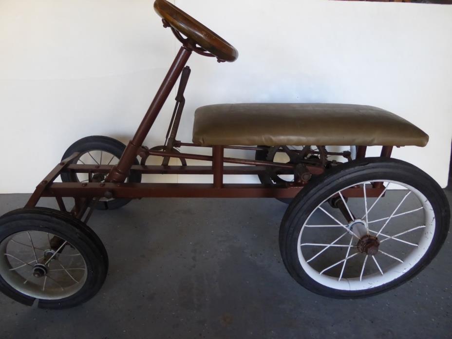 Antique Go Cart - Pump Wood Steering Wheel  - Rare