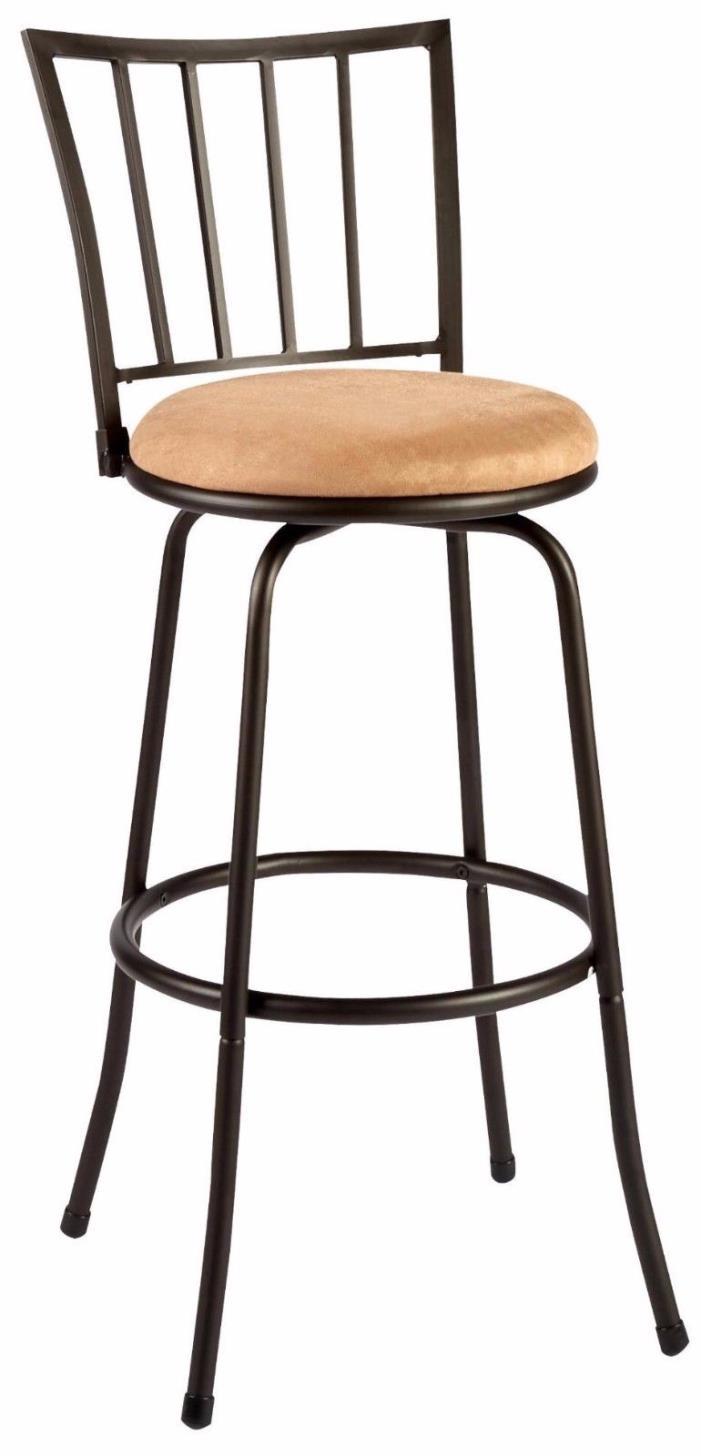 Bar Stools (Set of 2) Slat-Back Metal Kitchen Counter Barstools Swivel Chairs
