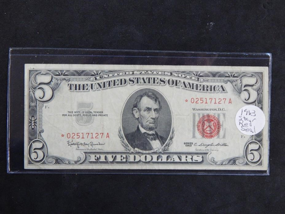 1963 $5 Red Seal Star Note Silver Certificate Fr.1536*