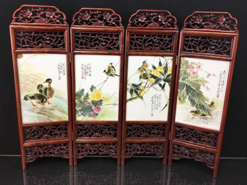 Magnificent Antique Chinese Porcelain Screen With Excellent Details Signed