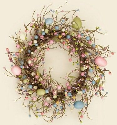 New EASTER EGG WREATH Candle Ring Pastel Pip Berry Primitive Country Spring