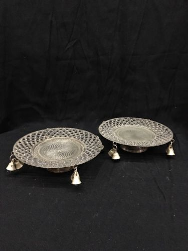 Vintage Candle Holder Plates Unmarked Silver Plate