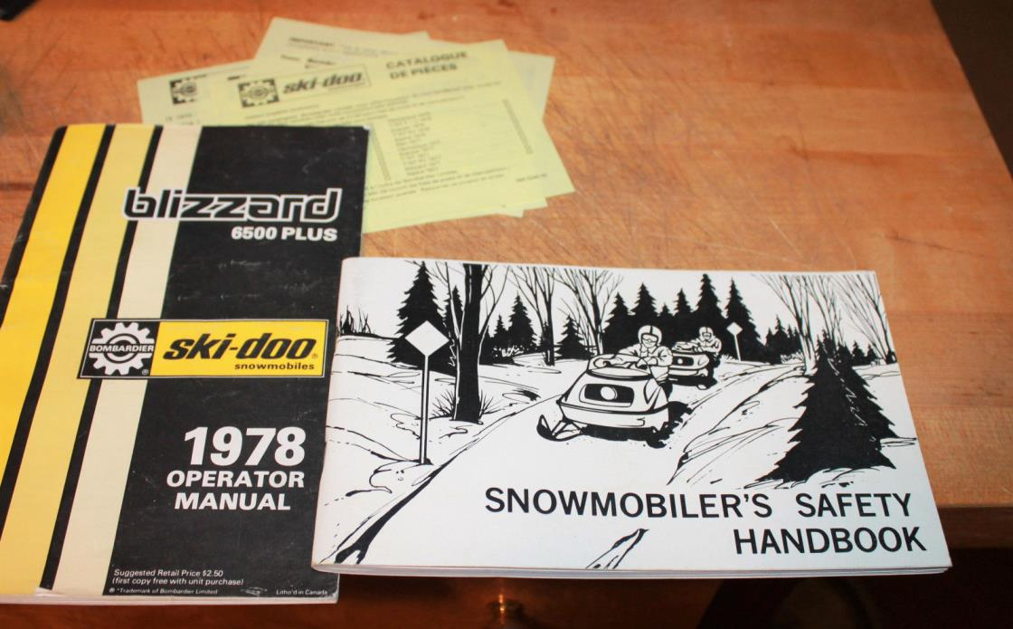 1978 Ski Doo Bombardier Blizzard 6500 Plus Owners Manual & Snowmobilers Safety
