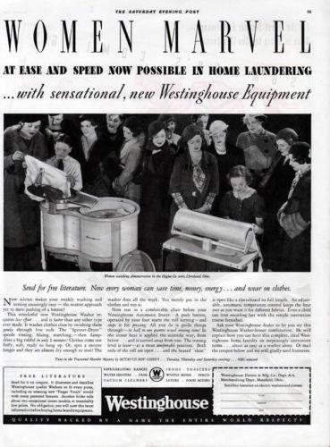 1933 WESTINGHOUSE WOMEN LAUNDRY WASHER PRESS IRON AD[SKU]
