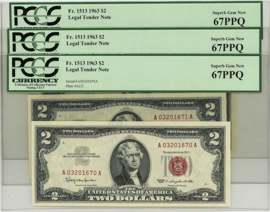 Fr. 1513 $2 1963 Legal Tender Superb Gem New67 PPQ 3 Consecutive