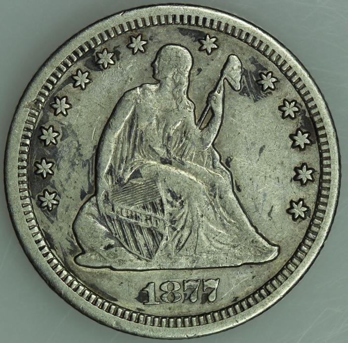 1877 CC SEATED QUARTER! XF! CARSON CITY! 25C! US COIN LOT #1579