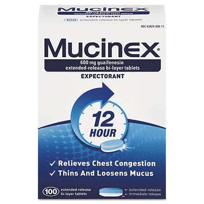 Mucinex Expectorant Regular Strength 100 Tablets/Box 12 Box/Carton 00815