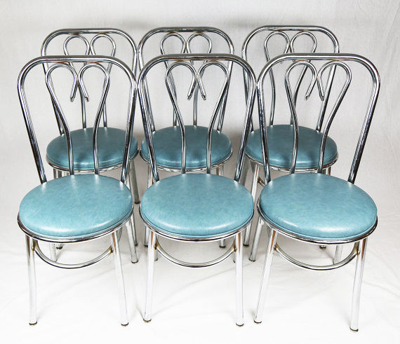 Set Of 6 Mid Century Modern MCM Chrome Parlor chairs Thonet attributed chair A+