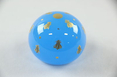 Baccarat Signed Blown Glass Paperweight, Gold Decoration