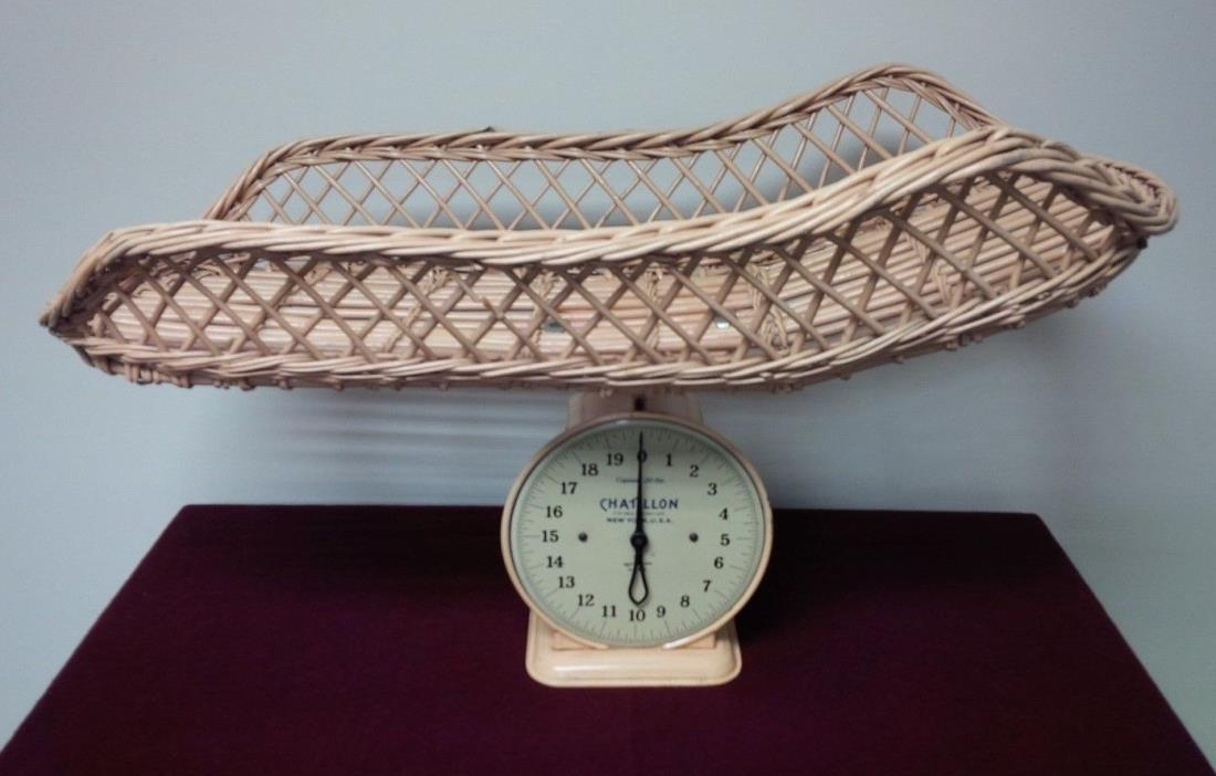 Antique Chatillon Pink Baby Scale ~ Wicker Basket