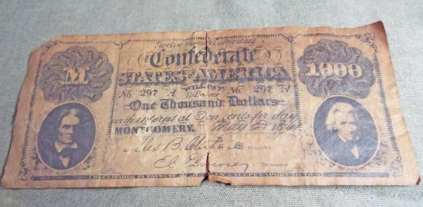 Reproduction Confederate $1000 Dollar Bill Dow Chemicals