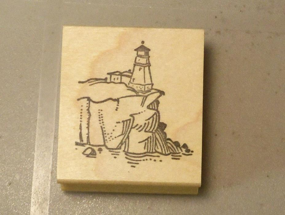(#1081) The Stamp Pad Company Rubber Stamp  Lighthouse on Clliff