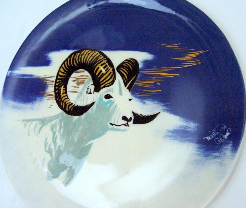 Matthew Adams Pottery Alaska Bighorn Sheep Ram Plate Blue 11 3/4 Sascha Brastoff