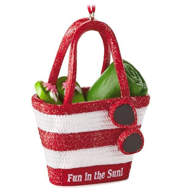 Beach Fun in the Sun Beach Bag Flip Flops Towel Sunglasses Hallmark Ornament