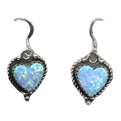 Large Blue  Fire Opal Heart Silver 925 Drop Earrings Gift boxed