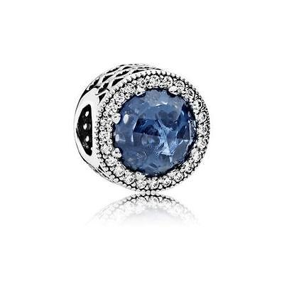 Authentic Pandora Silver Radiant Hearts Moonlight Blue Crystal CZ Bead 791725NMB