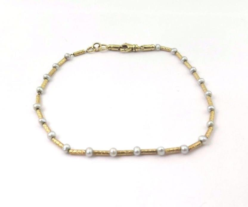 18k Yellow Gold Women's Bracelet With Pearls