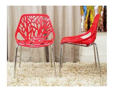 Birch Sapling Red Plastic Accent / Dining Chair - Set of 2 [ID 1077930]