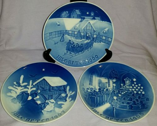 PRISTINE SET 3 BING & GRONDAHL 1967-68-69 CHRISTMAS PLAQUES LIMITED EDITION
