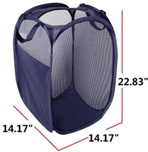 StorageManiac Foldable Pop-Up Mesh Hamper, Laundry Hamper With Reinforced Carry