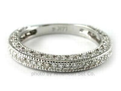 14K GOLD ANTIQUE PAVE ROUND DIAMOND WEDDING RING BAND