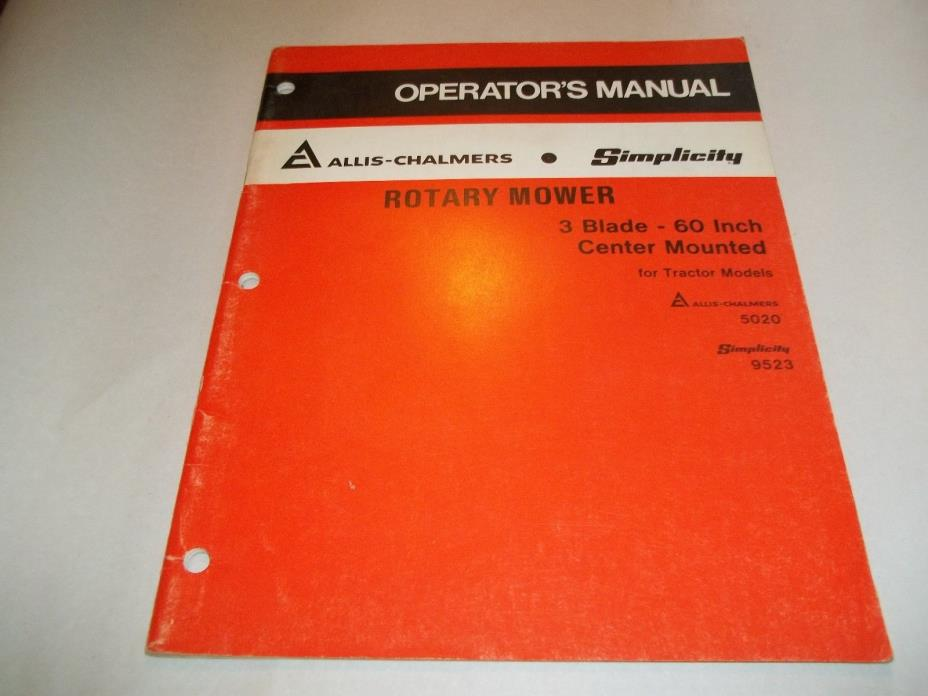 1978 Allis Chalmers Rotary Mower Operator's Manual