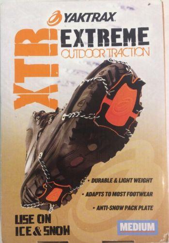 New Pair Yaktrax 08505 XTR Extreme Outdoor Ice/Snow Traction Black/Orange medium