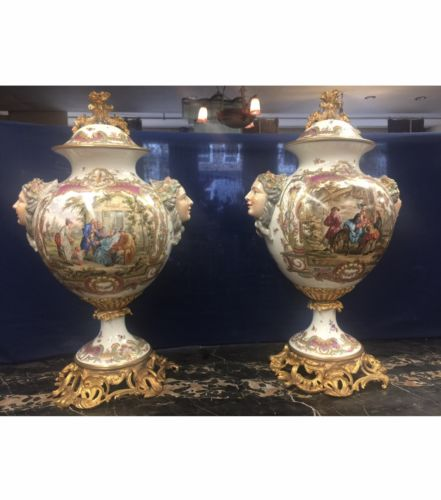 Very Large Pair Of 19th Century Severs Vases Urns Excellent Conditions 30 Inches