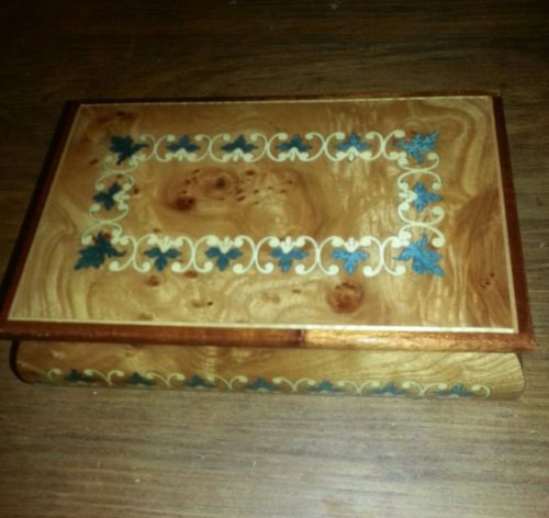 Reuge Inlaid Italian Wood Music Jewelry Box with Swiss Movements.