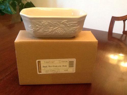 longaberger pottery natural garland ivory dish