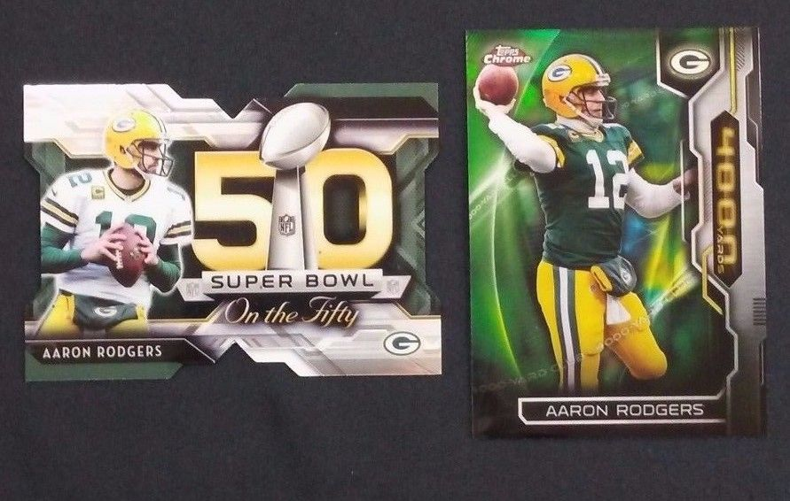 (2) 2015 Topps Chrome Aaron Rodgers Insert lot 4,000 yards &
