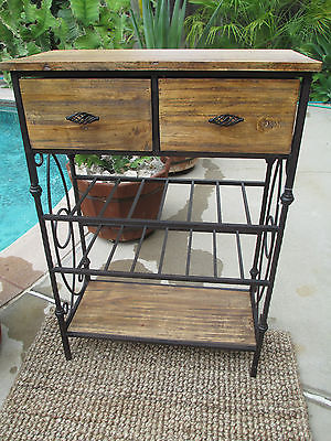 NEW Rustic teak wood and Iron Etagere/wine/towel rack Bath/Kitchen cabinet
