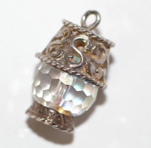 Vintage Sterling Silver Bracelet Charm Table Lamp Lantern Crystal Set  (5.4g)
