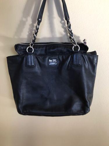 Genuine Black Leather COACH Purse