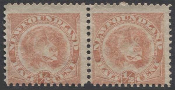 NEWFOUNDLAND QV 1896-98 Issue 1/2c Scott 57  SG62 Dog Never Hinged Pair cv £120